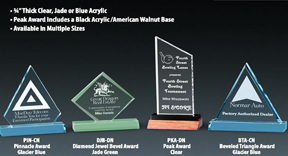 Large selection of acrylic awards