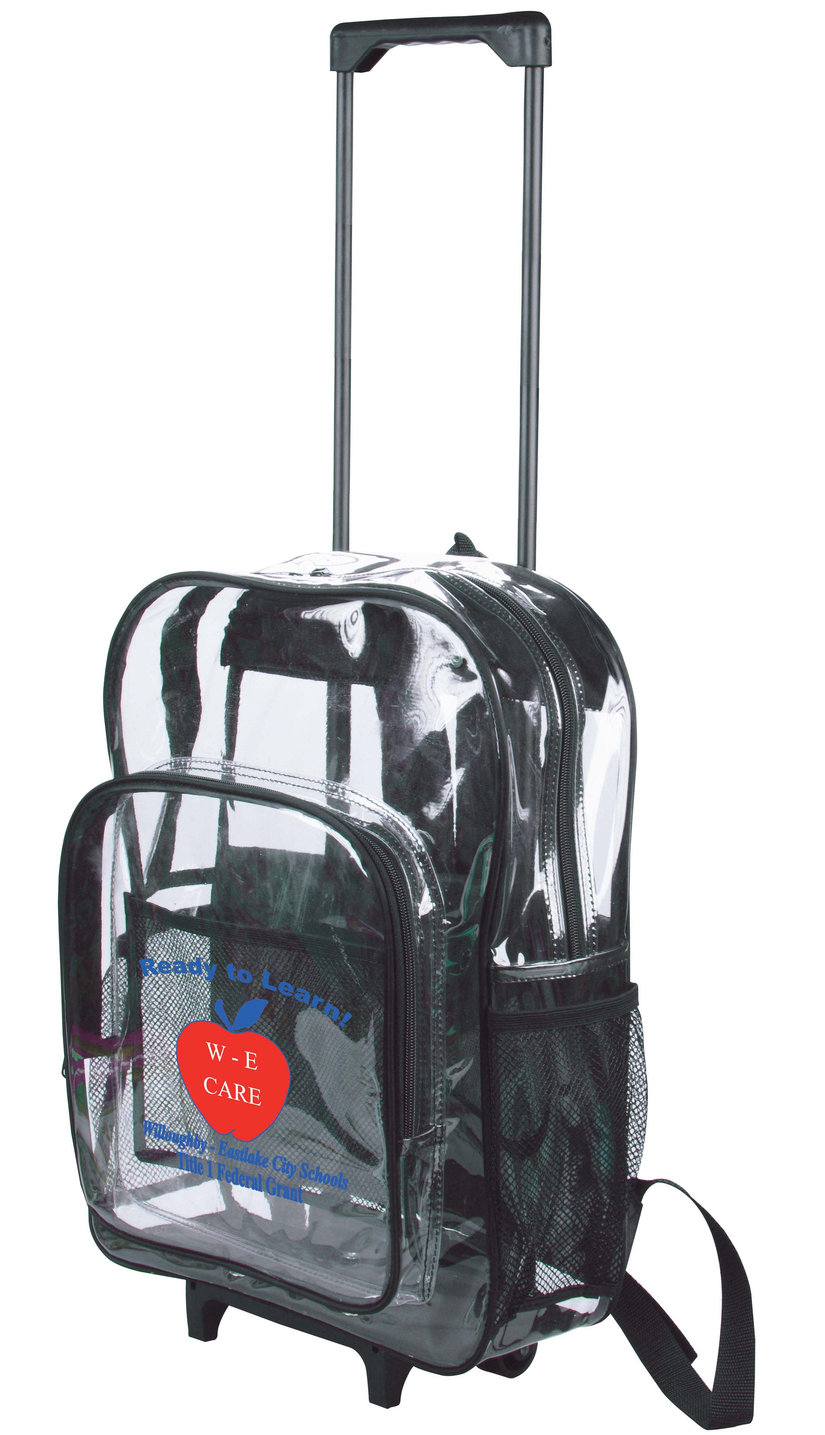 Clear Rolling Backpacks with Wheels - Custom Printed or Blanks