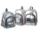 Clear plastic backpacks, available in three trim colors