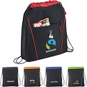 Drawstring cinch bags with 3 inch expandable zippered gusset