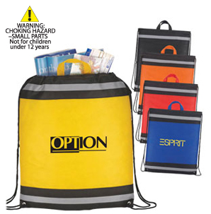Drawstring bags with reflective strip