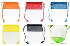 Clear Sling Cinch Backpacks with mesh