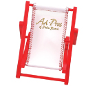 Red Frame with White Vinyl Seat. Mini Beach Chair Cell Phone Holder